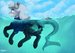 Size: 2912x2059 | Tagged: safe, artist:pucksterv, oc, oc only, equine, mammal, pony, shark pony, friendship is magic, my little pony, 2019, blushing, butt, clothes, cloud, commission, female, feral, fish tail, legwear, looking at you, looking back, mare, panties, partially submerged, shark tail, skirt, socks, solo, solo female, swimming, tail, thigh highs, underwear, water