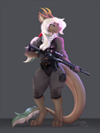 Size: 900x1200 | Tagged: safe, artist:dsixzey, oc, oc only, dragon, fictional species, furred dragon, anthro, digitigrade anthro, aimpoint, ar 15, bulletproof vest, clothes, collimator, female, gloves, gun, horns, long tail, magpul, multicolored hair, rifle, simple background, smiling, solo, solo female, tactical gear, tail, topwear, vest, weapon
