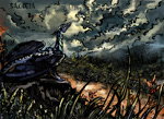 Size: 1169x850 | Tagged: safe, artist:metanagon, oc, oc only, oc:salicia, dragon, fictional species, reptile, blue scales, cloud, female, feral, grass field, grey sky, ink, landscape, peaceful, plants, river, solo, solo female, traditional art, wings