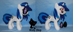 Size: 2292x1000 | Tagged: safe, artist:wollyshop, vinyl scratch (mlp), equine, fictional species, mammal, pony, unicorn, friendship is magic, my little pony, female, feral, glasses, horn, irl, mare, photo, photographed artwork, plushie, red eyes, smiling, solo, solo female, tail