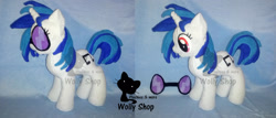 Size: 2212x948 | Tagged: safe, artist:wollyshop, vinyl scratch (mlp), equine, fictional species, mammal, pony, unicorn, friendship is magic, my little pony, female, feral, glasses, horn, irl, mare, photo, photographed artwork, plushie, smiling, solo, solo female, tail, watermark