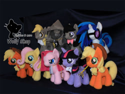 Size: 800x602   Tagged: safe, artist:wollyshop, applejack (mlp), derpy hooves (mlp), fluttershy (mlp), octavia melody (mlp), pinkamena diane pie (mlp), pinkie pie (mlp), princess luna (mlp), twilight sparkle (mlp), vinyl scratch (mlp), alicorn, earth pony, equine, fictional species, mammal, pegasus, pony, unicorn, friendship is magic, my little pony, bowtie, clothes, feathered wings, feathers, female, feral, filly, folded wings, freckles, goggles, group, hair band, hat, horn, irl, mare, photo, plushie, smiling, tail, watermark, wings