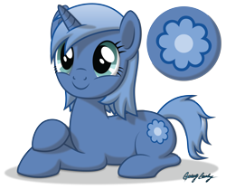 Size: 3676x3077 | Tagged: safe, artist:le-23, oc, oc only, oc:paamayim nekudotayim, equine, fictional species, mammal, pony, unicorn, friendship is magic, my little pony, alpha channel, art trade, blue fur, blue hair, cutie mark, cyan eyes, eyelashes, female, feral, fur, hair, hooves, horn, lying down, prone, signature, simple background, solo, solo female, tail, transparent background