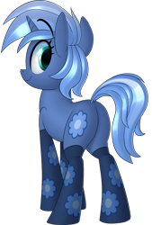 Size: 1275x1890 | Tagged: safe, artist:january3rd, oc, oc only, oc:paamayim nekudotayim, equine, fictional species, mammal, pony, unicorn, friendship is magic, my little pony, alpha channel, blue fur, blue hair, butt, clothes, commission, cute, cutie mark, cyan eyes, eyebrow through hair, female, feral, fur, green eyes, hair, hooves, horn, looking back, simple background, socks, solo, solo female, tail, transparent background