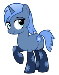 Size: 3500x4463 | Tagged: safe, artist:masem, oc, oc only, oc:paamayim nekudotayim, equine, fictional species, mammal, pony, unicorn, friendship is magic, my little pony, absurd resolution, alpha channel, blue fur, blue hair, clothes, commission, cutie mark, cyan eyes, female, feral, fur, hair, hooves, horn, simple background, socks, solo, solo female, tail, transparent background, vector