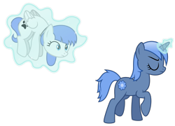 Size: 4867x3500 | Tagged: safe, artist:masem, oc, oc only, oc:paamayim nekudotayim, oc:snow pup, equine, fictional species, mammal, pegasus, pony, unicorn, friendship is magic, my little pony, absurd resolution, alpha channel, blue eyes, blue fur, blue hair, collar, commission, cute, cutie mark, duo, eyes closed, female, feral, folded wings, fur, hair, hooves, horn, magic, mane, raised leg, simple background, tail, telekinesis, transparent background, vector, walking, white fur, wings