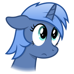 Size: 4096x4096 | Tagged: safe, artist:djdavid98, oc, oc only, oc:paamayim nekudotayim, equine, fictional species, mammal, pony, unicorn, friendship is magic, my little pony, absurd resolution, alpha channel, blue fur, blue hair, bust, cel shading, cyan eyes, eyelashes, female, feral, floppy ears, frown, fur, hair, horn, mane, portrait, sad, simple background, solo, solo female, transparent background, vector