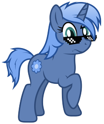 Size: 3200x3810 | Tagged: safe, artist:djdavid98, oc, oc only, oc:paamayim nekudotayim, equine, fictional species, mammal, pony, unicorn, friendship is magic, my little pony, alpha channel, blue fur, blue hair, cutie mark, cyan eyes, deal with it, feral, fur, hair, hooves, horn, looking at you, raised leg, simple background, solo, tail, transparent background, vector