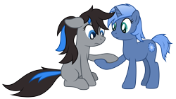 Size: 5440x3040 | Tagged: safe, artist:djdavid98, oc, oc only, oc:bluesparkks, oc:paamayim nekudotayim, earth pony, equine, fictional species, mammal, pony, unicorn, friendship is magic, my little pony, absurd resolution, alpha channel, black hair, blue eyes, blue fur, blue hair, cutie mark, cyan eyes, duo, feral, floppy ears, fur, gray fur, gray hair, hair, holding, holding hands, hooves, horn, sad, simple background, sitting, tail, transparent background, vector