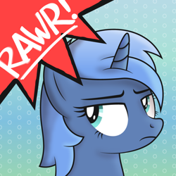 Size: 5000x5000 | Tagged: safe, artist:djdavid98, oc, oc only, oc:paamayim nekudotayim, equine, fictional species, mammal, pony, unicorn, friendship is magic, my little pony, abstract background, absurd resolution, avatar, blue fur, blue hair, bust, cyan eyes, female, feral, fur, hair, horn, shading, shading practice, simple background, soft shading, solo, solo female, text, unamused, vector