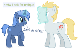 Size: 8192x5266 | Tagged: safe, artist:djdavid98, oc, oc only, oc:paamayim nekudotayim, oc:star farer, earth pony, equine, fictional species, mammal, pony, unicorn, friendship is magic, my little pony, absurd resolution, alpha channel, blue eyes, blue fur, blue hair, cutie mark, cyan eyes, duo, female, feral, fur, greentext, hair, hooves, horn, jumping, magic, male, paper, simple background, smiling, tail, teeth, text, transparent background, vector, yellow hair