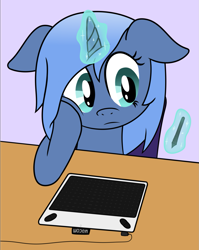 Size: 1191x1500 | Tagged: safe, artist:djdavid98, oc, oc only, oc:paamayim nekudotayim, equine, mammal, pony, friendship is magic, my little pony, blue fur, blue hair, chair, cyan eyes, drawing tablet, female, feral, floppy ears, fur, hair, holding head, hooves, horn, magic, newbie artist training grounds, simple background, solo, solo female, stylus, telekinesis, wacom, wacom stylus, wacom tablet