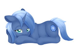 Size: 1185x793 | Tagged: safe, artist:dusthiel, oc, oc only, oc:paamayim nekudotayim, equine, mammal, pony, friendship is magic, my little pony, alpha channel, blue fur, blue hair, commission, cutie mark, cyan eyes, female, feral, floppy ears, fur, hair, hooves, horn, looking at you, lying down, prone, simple background, solo, solo female, tail, transparent background