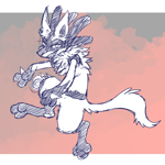 Size: 3368x3368 | Tagged: safe, artist:crunchycrowe, fictional species, lucario, nintendo, pokémon, ambiguous gender, fluff, gradient background, jumping, looking at you, semi-anthro, sketch, solo, tail