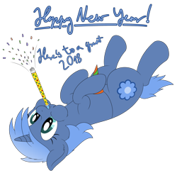 Size: 3572x3492 | Tagged: safe, artist:djdavid98, oc, oc only, oc:paamayim nekudotayim, equine, fictional species, mammal, pony, unicorn, friendship is magic, my little pony, 2018, alpha channel, blue fur, blue hair, cheek fluff, clothes, confetti, cutie mark, cyan eyes, ear fluff, english, female, feral, fluff, fur, hair, happy new year 2018, hat, high res, hooves, horn, lying down, new year, on back, party hat, party horn, simple background, solo, solo female, tail, text, transparent background