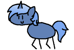 Size: 600x400 | Tagged: safe, artist:djdavid98, oc, oc only, oc:paamayim nekudotayim, equine, fictional species, mammal, pony, unicorn, friendship is magic, my little pony, blue fur, blue hair, derpibooru exclusive, female, feral, fur, hair, horn, round trip's mlp season 8 in a nutshell, simple background, solo, solo female, stick pony, tail