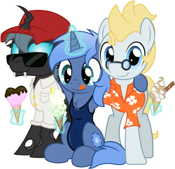Size: 5169x5000 | Tagged: safe, artist:djdavid98, artist:pirill, oc, oc only, oc:carbon copy, oc:paamayim nekudotayim, oc:star farer, arthropod, changeling, equine, fictional species, mammal, pony, friendship is magic, my little pony, absurd resolution, alpha channel, blue fur, blue hair, changeling oc, clothes, collaboration, cutie mark, cyan eyes, derpibooru exclusive, fangs, female, feral, food, fur, glasses, green hair, group, group hug, hair, hat, hawaiian shirt, hooves, horn, hug, ice cream, levitation, magic, male, shirt, side hug, simple background, smiling, sunglasses, swimsuit, tail, teeth, telekinesis, tongue out, transparent background, trio, vector, yellow hair