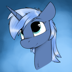 Size: 825x825 | Tagged: safe, artist:sinrar, oc, oc only, oc:paamayim nekudotayim, equine, fictional species, mammal, pony, unicorn, friendship is magic, my little pony, avatar, blue fur, blue hair, bust, commission, cyan eyes, female, feral, fur, gradient background, hair, horn, portrait, simple background, solo, solo female