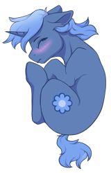 Size: 1258x1960 | Tagged: safe, alternate version, artist:cleoziep, oc, oc only, oc:paamayim nekudotayim, equine, fictional species, mammal, pony, unicorn, friendship is magic, my little pony, alpha channel, blue fur, blue hair, blushing, commission, cutie mark, eyes closed, female, feral, fetal position, floppy ears, fur, hair, hooves, horn, simple background, sleeping, solo, solo female, tail, top down, transparent background