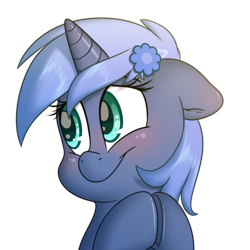 Size: 2000x2000 | Tagged: safe, artist:fluffyxai, oc, oc only, oc:paamayim nekudotayim, equine, fictional species, mammal, pony, unicorn, friendship is magic, my little pony, accessories, alpha channel, avatar, blue fur, blue hair, blushing, commission, cyan eyes, female, feral, floppy ears, fur, hair, hairpin, hooves, horn, looking away, simple background, smiling, soft shading, solo, solo female, transparent background