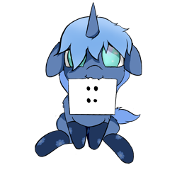 Size: 3500x3500 | Tagged: safe, artist:rainyvisualz, oc, oc only, oc:paamayim nekudotayim, equine, fictional species, mammal, pony, unicorn, friendship is magic, my little pony, :3, absurd resolution, alpha channel, blue fur, blue hair, clothes, commission, cyan eyes, female, feral, floppy ears, fur, hair, holding, hooves, horn, looking at you, looking up, looking up at you, mouth hold, no pupils, note, sign, simple background, sitting, socks, solo, solo female, tail, transparent background, ych result