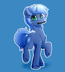 Size: 3600x4000 | Tagged: safe, artist:witchtaunter, oc, oc only, oc:paamayim nekudotayim, equine, fictional species, mammal, pony, unicorn, friendship is magic, my little pony, blue fur, blue hair, chest fluff, commission, cutie mark, cyan eyes, ear fluff, eyebrow through hair, female, feral, fluff, fur, hair, holding, hooves, horn, looking at you, mouth hold, raised leg, simple background, solo, solo female, stylus, surprised, tail, unshorn fetlocks, wacom stylus