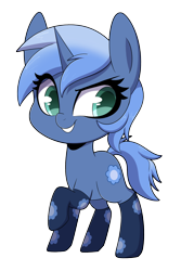 Size: 2400x3600 | Tagged: safe, artist:sakukitty, oc, oc only, oc:paamayim nekudotayim, equine, fictional species, mammal, pony, unicorn, friendship is magic, my little pony, blue fur, blue hair, chibi, clothes, commission, cutie mark, cyan eyes, dreamworks face, eyebrow through hair, female, feral, fur, hair, hooves, horn, raised leg, simple background, smiling, smirk, socks, solo, solo female, tail, three-quarter view, transparent background