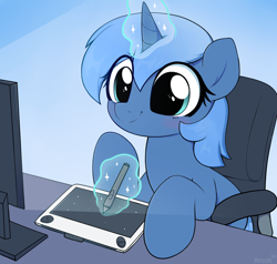 Size: 3000x2855 | Tagged: safe, artist:moozua, oc, oc only, oc:paamayim nekudotayim, equine, fictional species, mammal, pony, unicorn, friendship is magic, my little pony, blue fur, blue hair, blushing, cel shading, chair, commission, computer screen, cute, cyan eyes, drawing, drawing tablet, eye through hair, female, feral, fur, gradient background, hair, hooves, horn, looking at something, magic, shading, signature, sitting, smiling, solo, solo female, stylus, table, tail, telekinesis, three-quarter view, wacom, wacom stylus, wacom tablet