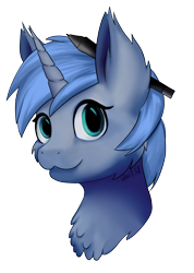 Size: 1768x2480 | Tagged: safe, artist:noxi1_48, edit, editor:djdavid98, oc, oc only, oc:paamayim nekudotayim, equine, fictional species, mammal, pony, unicorn, friendship is magic, my little pony, avatar, blue fur, blue hair, bust, cheek fluff, chest fluff, commission, cyan eyes, disembodied head, ear fluff, female, feral, fluff, fur, hair, horn, looking at you, portrait, shading, signature, simple background, soft shading, solo, solo female, stylus, three-quarter view, transparent background, wacom stylus