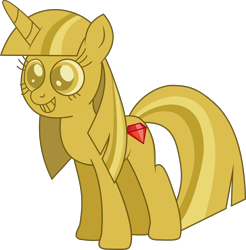 Size: 8183x8301 | Tagged: safe, artist:djdavid98, artist:littleprincessluna, twilight sparkle (mlp), equine, fictional species, mammal, pony, unicorn, friendship is magic, my little pony, .ai available, .svg available, absurd resolution, cutie mark, female, feral, fur, gem, gold, grin, hair, hooves, horn, ponified, simple background, smiling, solo, solo female, tail, transparent background, twilight scepter (mlp), vector, yellow eyes, yellow fur, yellow hair