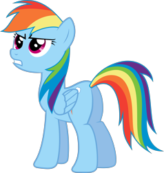 Size: 7836x8225 | Tagged: safe, artist:djdavid98, artist:embersatdawn, rainbow dash (mlp), equine, fictional species, mammal, pegasus, pony, friendship is magic, my little pony, .ai available, .svg available, absurd resolution, blue fur, cutie mark, female, feral, fur, hair, hooves, magenta eyes, rainbow hair, simple background, solo, solo female, teeth, transparent background, vector, wings