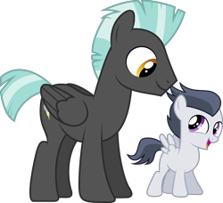 Size: 8682x7920 | Tagged: safe, artist:chainchomp2 edit, artist:djdavid98, rumble (mlp), thunderlane (mlp), equine, fictional species, mammal, pegasus, pony, friendship is magic, my little pony, .ai available, .svg available, absurd resolution, brother, brothers, cutie mark, cyan hair, duo, feathered wings, feathers, feral, folded wings, fur, gray fur, gray hair, hair, hooves, looking at each other, male, open mouth, purple eyes, siblings, simple background, size difference, spread wings, tail, transparent background, vector, wings, yellow eyes