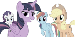 Size: 8192x4072 | Tagged: safe, artist:djdavid98, artist:uxyd, applejack (mlp), rainbow dash (mlp), rarity (mlp), twilight sparkle (mlp), alicorn, earth pony, equine, fictional species, mammal, pegasus, pony, friendship is magic, my little pony, .ai available, absurd resolution, bags under eyes, blue eyes, blue fur, blue hair, cutie mark, female, feral, fur, green eyes, group, hair, hooves, horn, looking at you, magenta eyes, orange fur, purple eyes, purple fur, purple hair, rainbow hair, raised eyebrow, raised leg, simple background, tail, transparent background, vector, white fur, wings, yellow hair