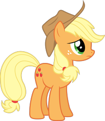 Size: 5076x5883 | Tagged: safe, artist:djdavid98, artist:uxyd, applejack (mlp), earth pony, equine, fictional species, mammal, pony, friendship is magic, my little pony, absurd resolution, clothes, cutie mark, female, feral, freckles, fur, green eyes, hair, hat, hooves, orange fur, simple background, solo, solo female, tail, transparent background, vector, yellow hair