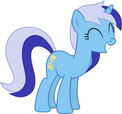 Size: 5337x5000 | Tagged: safe, artist:djdavid98, artist:hawk9mm, minuette (mlp), equine, fictional species, mammal, pony, unicorn, friendship is magic, my little pony, .ai available, .svg available, absurd resolution, blue fur, blue hair, cutie mark, eyes closed, female, feral, fur, hair, hooves, horn, leaning forward, simple background, smiling, solo, solo female, tail, teeth, transparent background, vector