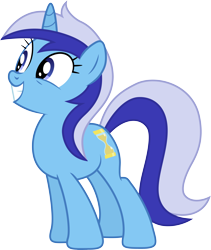 Size: 5000x5926 | Tagged: safe, artist:djdavid98, artist:hawk9mm, minuette (mlp), equine, fictional species, mammal, pony, unicorn, friendship is magic, my little pony, .ai available, .svg available, absurd resolution, blue eyes, blue fur, blue hair, cutie mark, female, feral, fur, hair, hooves, horn, leaning forward, looking at something, simple background, smiling, solo, solo female, tail, teeth, transparent background, vector