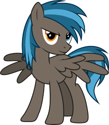 Size: 7103x8192 | Tagged: safe, artist:djdavid98, oc, oc only, oc:going lucky, equine, fictional species, mammal, pegasus, pony, friendship is magic, my little pony, absurd resolution, art trade, blue eyes, blue hair, cutie mark, feral, hair, heterochromia, hooves, looking at you, male, simple background, solo, solo male, spread wings, tail, transparent background, vector, wings, yellow eyes