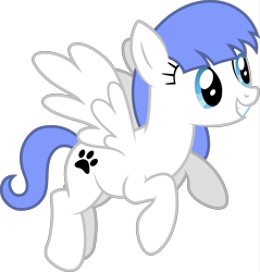 Size: 7823x8192 | Tagged: safe, artist:djdavid98, oc, oc only, oc:snow pup, equine, fictional species, mammal, pegasus, pony, friendship is magic, my little pony, absurd resolution, blue eyes, blue hair, cutie mark, female, feral, flying, fur, hair, hooves, simple background, smiling, solo, solo female, spread wings, tail, teeth, transparent background, vector, white fur, wings