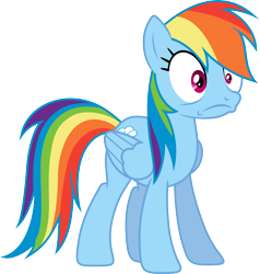 Size: 3200x3358 | Tagged: safe, artist:djdavid98, artist:embersatdawn, rainbow dash (mlp), equine, fictional species, mammal, pegasus, pony, friendship is magic, my little pony, .ai available, .svg available, blue fur, cutie mark, do not want, female, feral, frown, fur, hair, hooves, magenta eyes, rainbow hair, simple background, solo, solo female, tail, transparent background, vector, wings