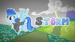 Size: 1920x1080 | Tagged: safe, artist:diigii-doll, artist:djdavid98, artist:lahirien, artist:rainbowderp98, oc, oc only, oc:storm (meowing-ghost), equine, fictional species, mammal, pegasus, pony, friendship is magic, my little pony, .ai available, .svg available, art trade, blank flank, blue fur, blue hair, clothes, cloud, cutie mark, female, feral, flower, flying, fur, hair, hooves, lightning, mountain, mountains, path, purple eyes, simple background, solo, solo female, spread wings, text, transparent background, vector, wallpaper, wings