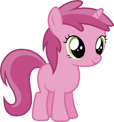 Size: 3200x3443 | Tagged: safe, artist:djdavid98, ruby pinch (mlp), equine, fictional species, mammal, pony, unicorn, friendship is magic, my little pony, .ai available, .svg available, blank flank, female, feral, fur, green eyes, hooves, horn, pink fur, pink hair, simple background, solo, solo female, tail, transparent background, vector, young
