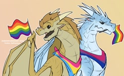 Size: 1668x1020   Tagged: safe, artist:fluffdarken, qibli (wings of fire), winter (wings of fire), dragon, fictional species, icewing, reptile, sandwing, feral, wings of fire (book series), bandanna, bisexual pride flag, duo, feral/feral, flag, gay pride flag, hair, horns, male, male/male, mane, open mouth, pansexual pride flag, pride, pride flag, qinter (wings of fire), scales, scar, shipping, teeth