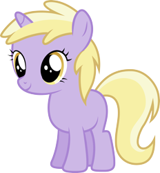 Size: 3200x3443 | Tagged: safe, artist:djdavid98, dinky hooves (mlp), equine, fictional species, mammal, pony, unicorn, friendship is magic, my little pony, .ai available, .svg available, female, feral, fur, hooves, horn, purple fur, simple background, solo, solo female, tail, transparent background, vector, yellow eyes, yellow hair, young
