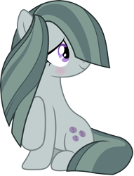 Size: 3200x4182 | Tagged: safe, artist:djdavid98, artist:jeatz-axl, marble pie (mlp), earth pony, equine, fictional species, mammal, pony, friendship is magic, my little pony, .ai available, blushing, cute, cutie mark, female, feral, fur, green fur, green hair, hair, hair over one eye, hooves, looking back, purple eyes, raised leg, simple background, sitting, smiling, solo, solo female, tail, transparent background, vector