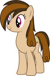 Size: 4200x6331 | Tagged: safe, artist:djdavid98, oc, oc only, oc:cupcake slash, earth pony, equine, fictional species, mammal, pony, friendship is magic, my little pony, absurd resolution, brown fur, brown hair, cutie mark, female, feral, fur, hair, hooves, magenta eyes, simple background, solo, solo female, tail, transparent background, vector