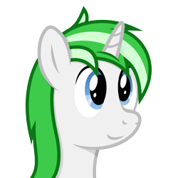Size: 4096x4096 | Tagged: safe, artist:djdavid98, oc, oc only, oc:alteran (alteranancient), equine, fictional species, mammal, pony, unicorn, friendship is magic, my little pony, absurd resolution, blue eyes, bust, cel shading, feral, fur, green hair, horn, male, portrait, shading, simple background, smiling, solo, solo male, transparent background, vector, white fur