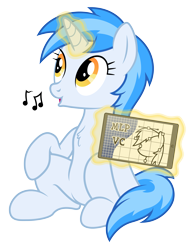 Size: 4609x6001 | Tagged: safe, artist:djdavid98, artist:pirill, artist:zutheskunk, oc, oc only, oc:penny curve, equine, fictional species, mammal, pony, unicorn, friendship is magic, my little pony, absurd resolution, blue fur, blue hair, chest fluff, female, feral, fluff, fur, hair, hooves, horn, levitation, looking up, magic, music notes, open mouth, simple background, sitting, smiling, solo, solo female, tablet, tail, telekinesis, transparent background, vector, whistling, yellow eyes