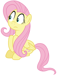 Size: 4350x5760 | Tagged: safe, artist:djdavid98, fluttershy (mlp), equine, fictional species, mammal, pegasus, pony, friendship is magic, my little pony, .ai available, .svg available, absurd resolution, concerned, cutie mark, cyan eyes, female, feral, frown, fur, hair, hooves, looking at something, pink hair, simple background, sitting, solo, solo female, tail, transparent background, vector, wings, yellow fur