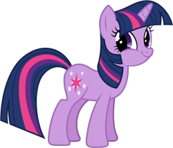 Size: 4080x3500 | Tagged: safe, artist:djdavid98, twilight sparkle (mlp), equine, fictional species, mammal, pony, unicorn, friendship is magic, my little pony, absurd resolution, blue hair, cutie mark, faic, female, feral, fur, hair, hooves, horn, looking at you, purple eyes, purple fur, simple background, smirk, solo, solo female, tail, transparent background, vector