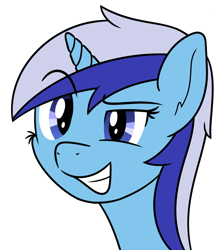 Size: 1392x1567 | Tagged: safe, artist:djdavid98, minuette (mlp), equine, fictional species, mammal, pony, unicorn, friendship is magic, my little pony, blue eyes, blue fur, blue hair, bust, cheek fluff, ear fluff, eyebrow through hair, female, feral, fluff, fur, hair, horn, newbie artist training grounds, portrait, simple background, smiling, solo, solo female, teeth, transparent background